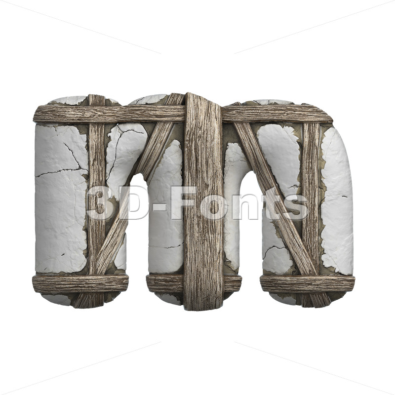 plastered beam 3d font M - Lowercase 3d letter - 3D Fonts Collections | Top Quality Letters, Numbers and Symbols !