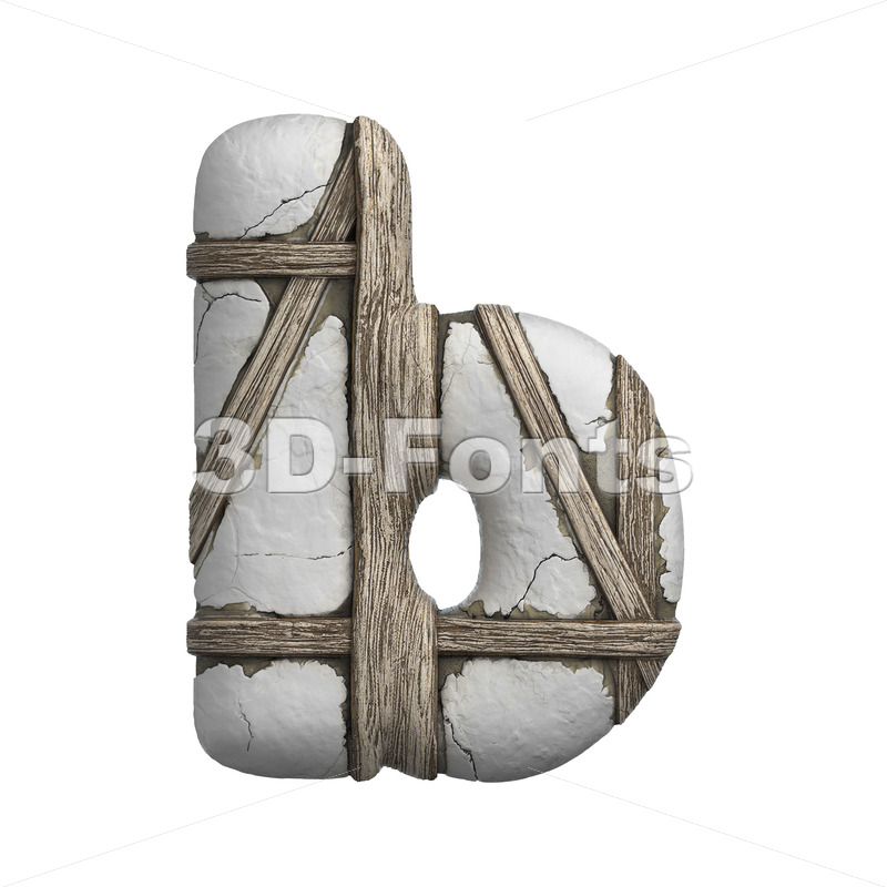 plastered beam alphabet character B - Lower-case 3d letter - 3D Fonts Collections | Top Quality Letters, Numbers and Symbols !