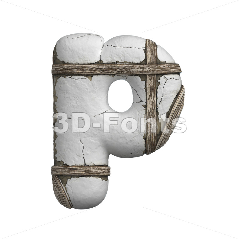 plastered beam character P - Lowercase 3d font - 3D Fonts Collections | Top Quality Letters, Numbers and Symbols !
