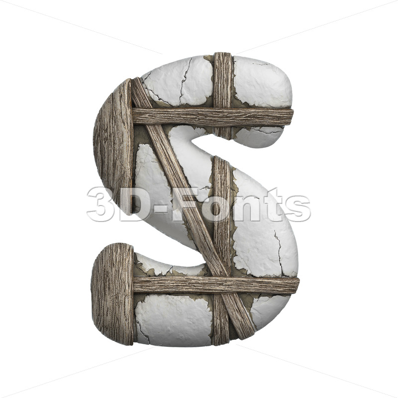 plastered font S - Uppercase 3d letter - 3D Fonts Collections | Top Quality Letters, Numbers and Symbols !