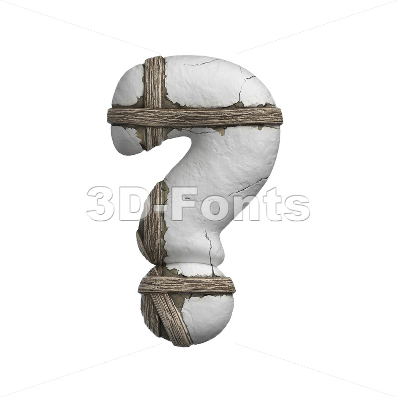 plastered interrogation point - 3d  sign - 3D Fonts Collections | Top Quality Letters, Numbers and Symbols !