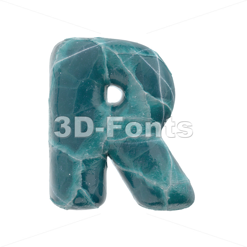 blue ice letter R - Uppercase 3d font - 3D Fonts Collections | Top Quality Letters, Numbers and Symbols !