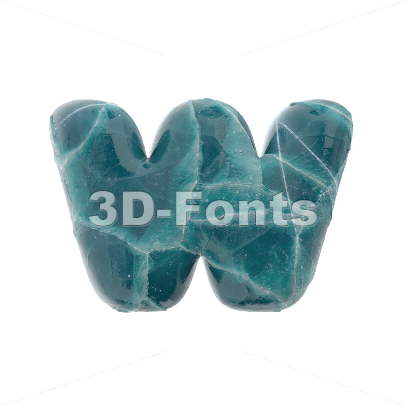 frozen alphabet letter W - Lower-case 3d character - 3D Fonts Collections | Top Quality Letters, Numbers and Symbols !