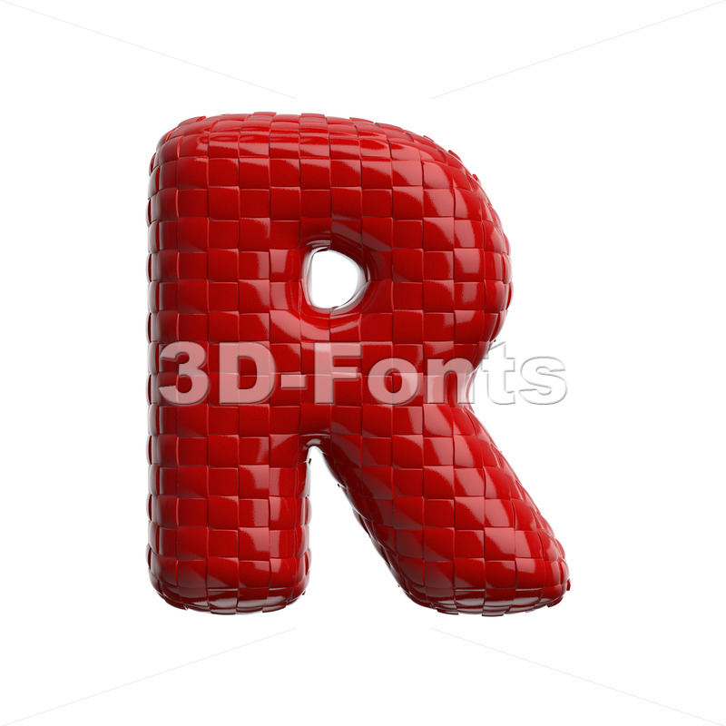 plastic patterned letter R - Uppercase 3d font - 3D Fonts Collections | Top Quality Letters, Numbers and Symbols !