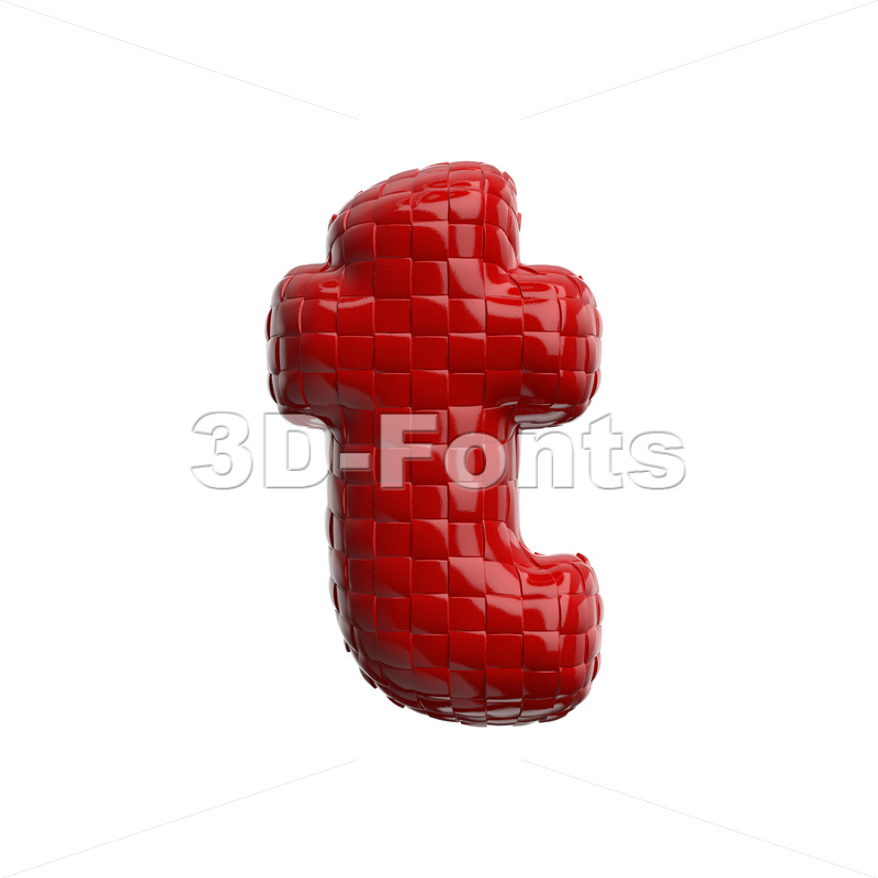 plastic patterned character T - Lower-case 3d letter - 3D Fonts Collections | Top Quality Letters, Numbers and Symbols !