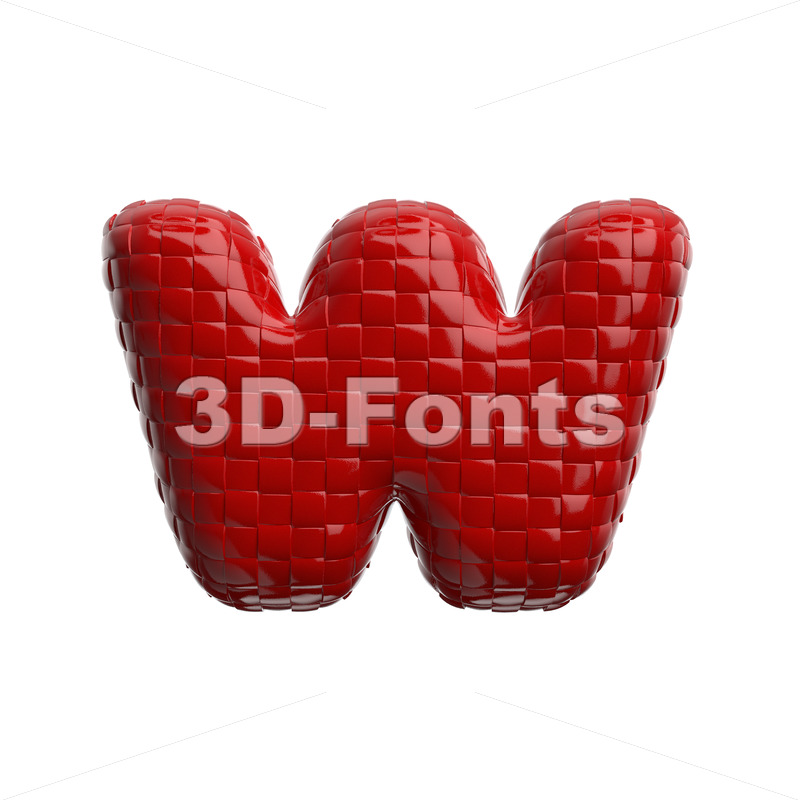 red glossy alphabet letter W - Lower-case 3d character - 3D Fonts Collections   Top Quality Letters, Numbers and Symbols !