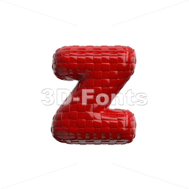 plastic patterned 3d character Z - Lower-case 3d font - 3D Fonts Collections   Top Quality Letters, Numbers and Symbols !