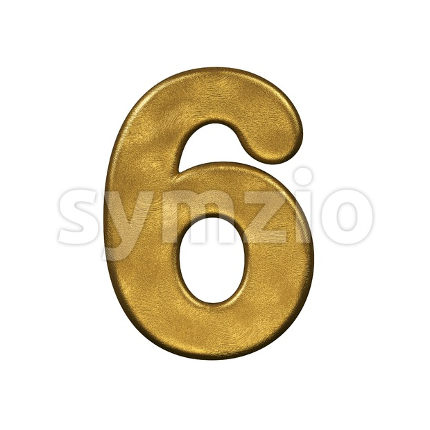 gold digit 6 - 3d number Stock Photo
