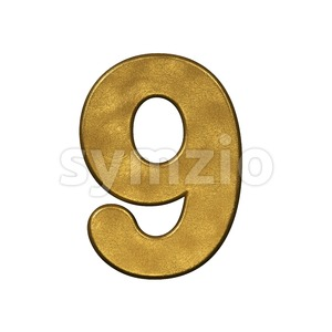 gold number 9 - 3d digit Stock Photo