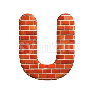 Brick wall 3d letter U - Capital 3d font Stock Photo