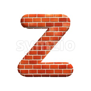 Brick letter Z - Upper-case 3d font Stock Photo