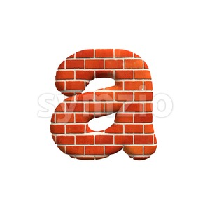 Brick wall font A - Lowercase 3d letter Stock Photo
