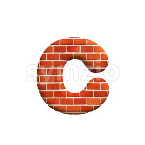Small Brick wall font C - Lowercase 3d character Stock Photo
