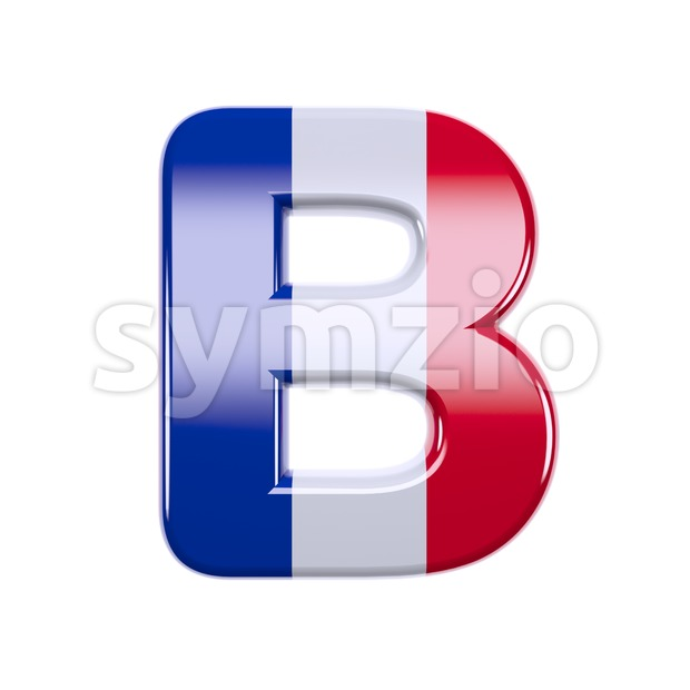 Capital french flag colors letter B