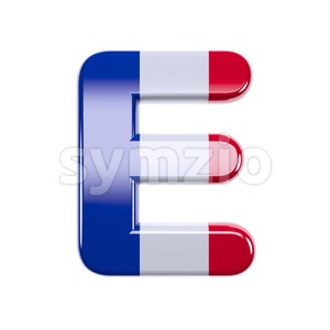 3d Capital character E covered in french texture Stock Photo