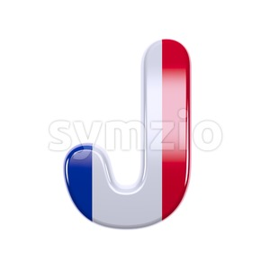 3d Uppercase font J covered in french flag colors texture Stock Photo