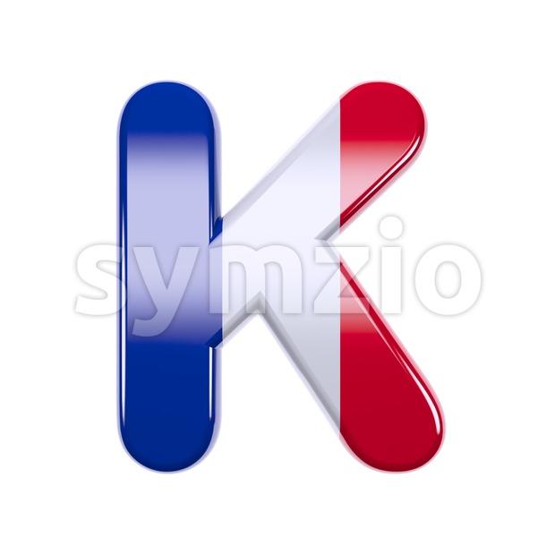 Uppercase french flag letter K - Capital 3d font Stock Photo