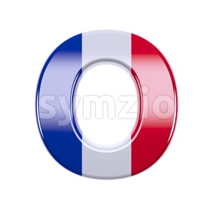 3d Upper-case letter O covered in french flag texture Stock Photo