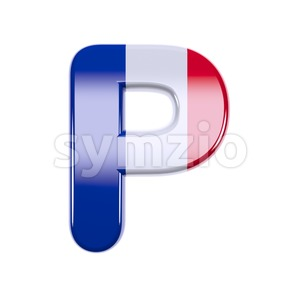 Upper-case french character P - Capital 3d font Stock Photo