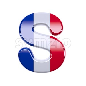 3d Uppercase font S covered in french flag texture Stock Photo