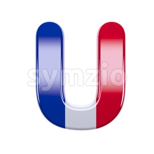 french flag 3d letter U - Capital 3d font Stock Photo