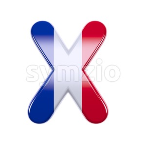 3d Upper-case character X covered in french texture Stock Photo