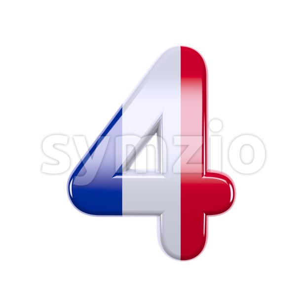 french flag digit 4 - 3d number Stock Photo