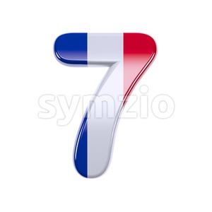 french flag number 7 - 3d digit Stock Photo