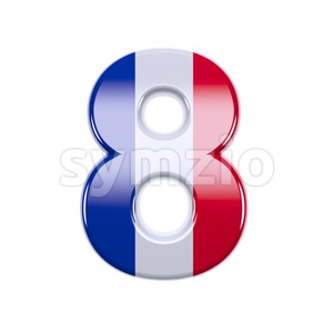 french flag digit 8 - 3d number Stock Photo
