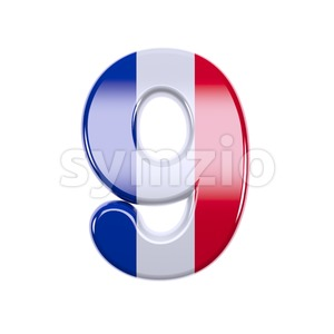 french flag number 9 - 3d digit Stock Photo