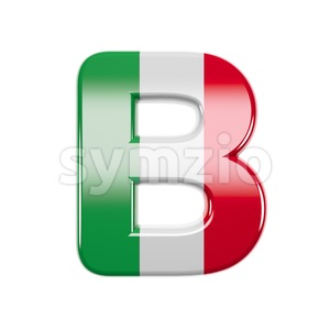 Capital italy flag colors letter B - Upper-case 3d font Stock Photo