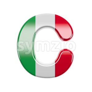 3d italian flag font C - Capital 3d letter Stock Photo