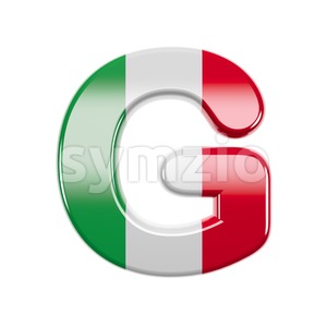 Upper-case italian flag character G - Capital 3d font Stock Photo