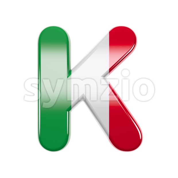 Uppercase italian flag letter K - Capital 3d font Stock Photo