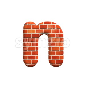 Lower-case Brick wall letter N - Small 3d font Stock Photo