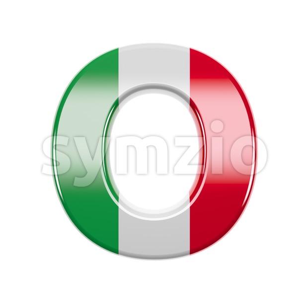 3d Upper-case letter O covered in italian flag texture