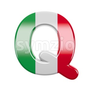 3d Upper-case font Q covered in italian texture Stock Photo