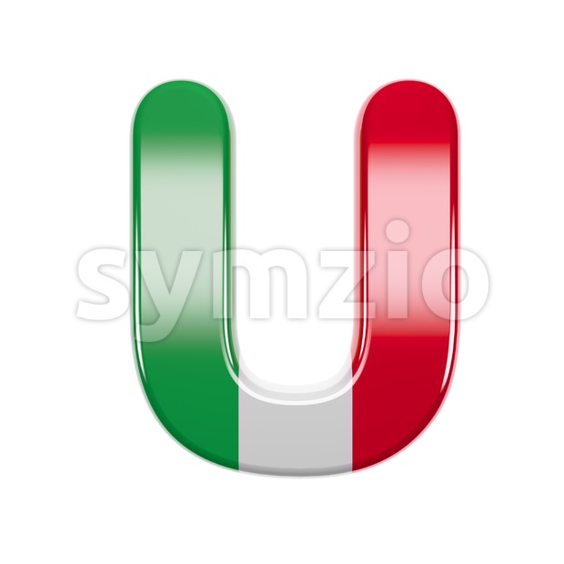 italian flag 3d letter U - Capital 3d font Stock Photo