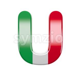 italian flag 3d letter U - Capital 3d font Stock Photo