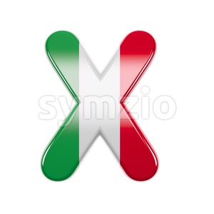 3d Upper-case character X covered in italian texture Stock Photo
