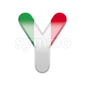Upper-case italian flag font Y - Capital 3d character Stock Photo