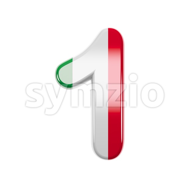 Italian flag number 1 - 3d digit Stock Photo
