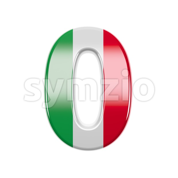 Italian flag number 0 - 3d digit Stock Photo