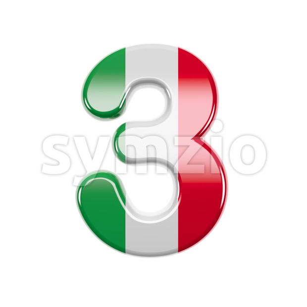 Italian flag number 3 - 3d digit Stock Photo