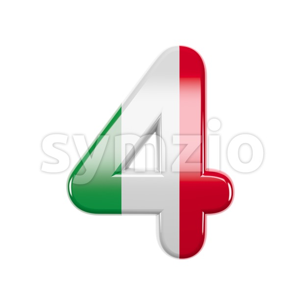 Italian flag digit 4 - 3d number Stock Photo