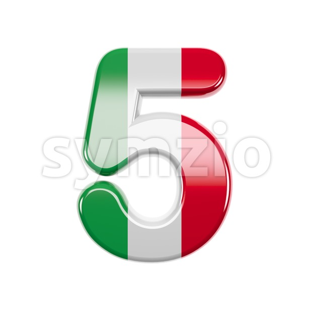 Italian flag number 5 - 3d digit Stock Photo