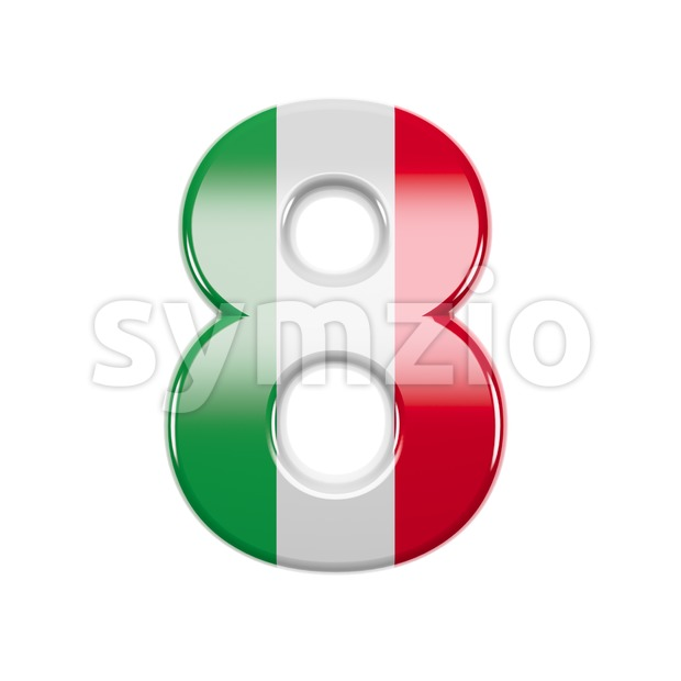 Italian flag digit 8 - 3d number Stock Photo