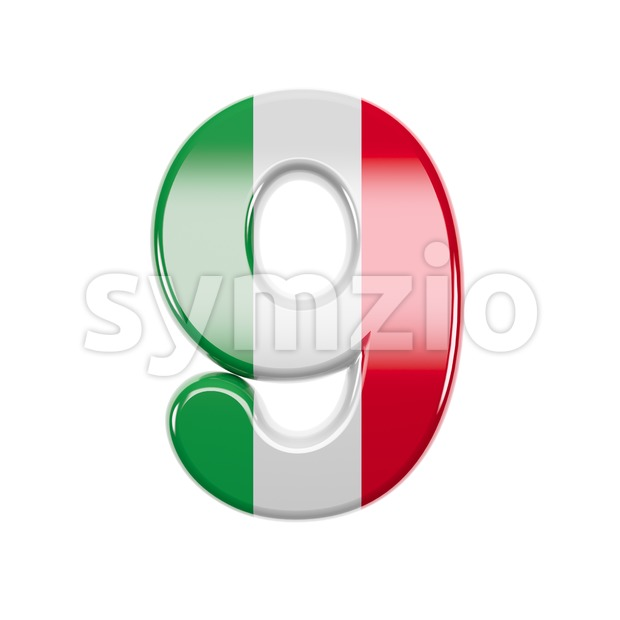 Italian flag number 9 - 3d digit Stock Photo