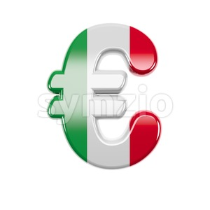 Italian flag euro currency sign - 3d business symbol Stock Photo