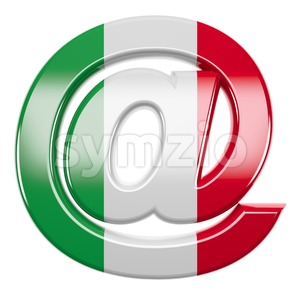 Italian flag at-sign - 3d arobase symbol Stock Photo